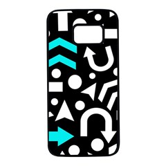 Right Direction   Cyan Samsung Galaxy S7 Black Seamless Case by Valentinaart