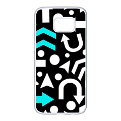 Right Direction   Cyan Samsung Galaxy S7 Edge White Seamless Case by Valentinaart