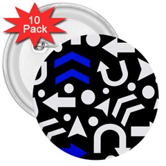 Right Direction   Blue  3  Buttons (10 Pack)  by Valentinaart