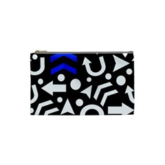 Right Direction   Blue  Cosmetic Bag (small)  by Valentinaart