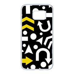 Right Direction   Yellow Samsung Galaxy S7 Edge White Seamless Case