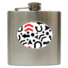 Red Right Direction Hip Flask (6 Oz) by Valentinaart