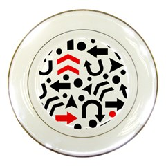 Red Right Direction Porcelain Plates by Valentinaart