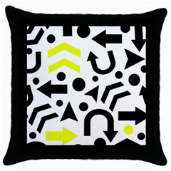 Yellow Right Direction  Throw Pillow Case (black) by Valentinaart