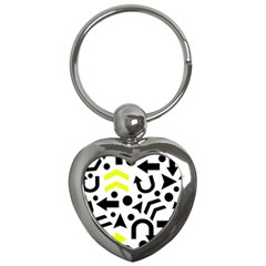 Yellow Right Direction  Key Chains (heart)  by Valentinaart