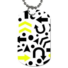 Yellow Right Direction  Dog Tag (two Sides) by Valentinaart