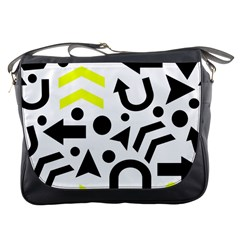 Yellow Right Direction  Messenger Bags by Valentinaart