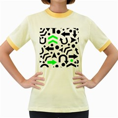 Green Right Direction  Women s Fitted Ringer T Shirts