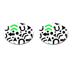 Green Right Direction  Cufflinks (oval) by Valentinaart