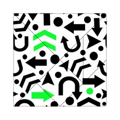Green Right Direction  Acrylic Tangram Puzzle (6  X 6 ) by Valentinaart
