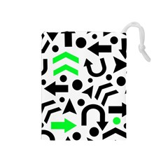 Green Right Direction  Drawstring Pouches (medium)  by Valentinaart