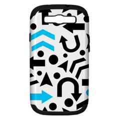 Cyan Right Direction Samsung Galaxy S Iii Hardshell Case (pc+silicone) by Valentinaart