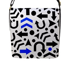 Blue Right Direction Flap Messenger Bag (l)  by Valentinaart