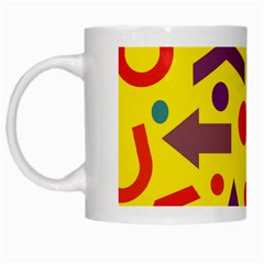 Yellow Direction White Mugs by Valentinaart