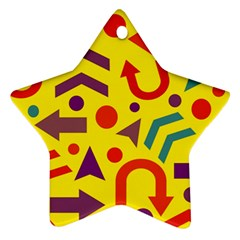 Yellow Direction Star Ornament (two Sides)