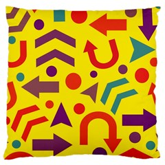 Yellow Direction Large Cushion Case (two Sides) by Valentinaart