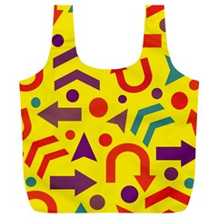 Yellow Direction Full Print Recycle Bags (l)  by Valentinaart