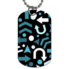 Cyan Direction  Dog Tag (two Sides) by Valentinaart