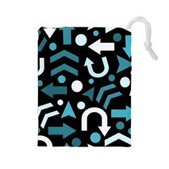 Cyan Direction  Drawstring Pouches (large)