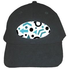Cyan Direction Pattern Black Cap by Valentinaart