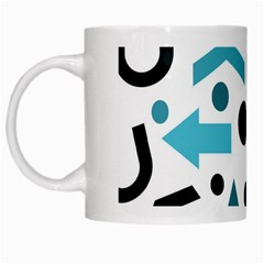 Cyan Direction Pattern White Mugs by Valentinaart