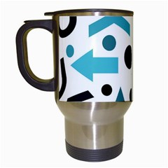 Cyan Direction Pattern Travel Mugs (white) by Valentinaart