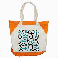Cyan Direction Pattern Accent Tote Bag by Valentinaart