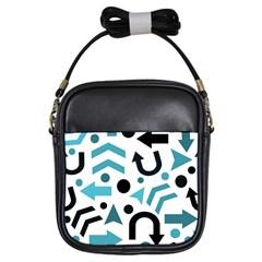 Cyan Direction Pattern Girls Sling Bags by Valentinaart