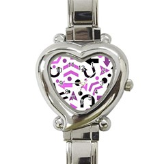 Magenta Direction Pattern Heart Italian Charm Watch by Valentinaart
