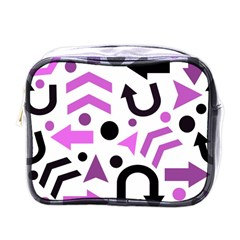 Magenta Direction Pattern Mini Toiletries Bags by Valentinaart