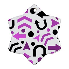 Magenta Direction Pattern Snowflake Ornament (2 Side) by Valentinaart
