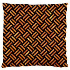 Woven2 Black Marble & Orange Marble Large Cushion Case (two Sides) by trendistuff