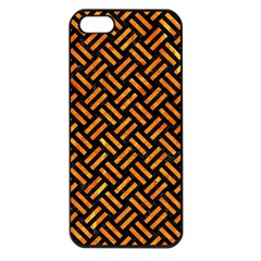 Woven2 Black Marble & Orange Marble Apple Iphone 5 Seamless Case (black) by trendistuff