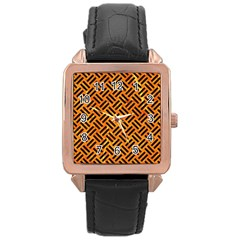 Woven2 Black Marble & Orange Marble (r) Rose Gold Leather Watch  by trendistuff