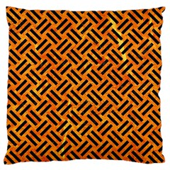 Woven2 Black Marble & Orange Marble (r) Large Flano Cushion Case (one Side) by trendistuff