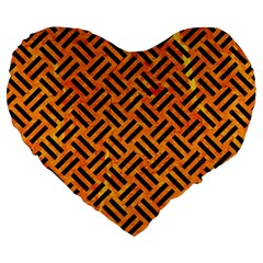 Woven2 Black Marble & Orange Marble (r) Large 19  Premium Flano Heart Shape Cushion by trendistuff