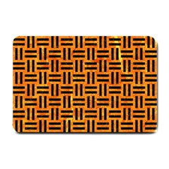 Woven1 Black Marble & Orange Marble (r) Small Doormat by trendistuff