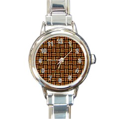 Woven1 Black Marble & Orange Marble Round Italian Charm Watch by trendistuff