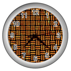 Woven1 Black Marble & Orange Marble Wall Clock (silver) by trendistuff