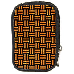 Woven1 Black Marble & Orange Marble Compact Camera Leather Case by trendistuff