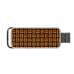 Woven1 Black Marble & Orange Marble Portable Usb Flash (one Side) by trendistuff
