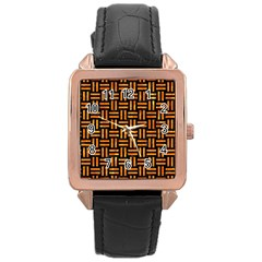 Woven1 Black Marble & Orange Marble Rose Gold Leather Watch  by trendistuff