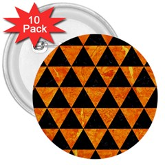 Triangle3 Black Marble & Orange Marble 3  Button (10 Pack) by trendistuff