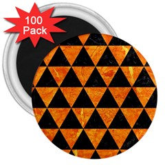 Triangle3 Black Marble & Orange Marble 3  Magnet (100 Pack) by trendistuff