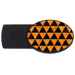 Triangle3 Black Marble & Orange Marble Usb Flash Drive Oval (4 Gb) by trendistuff