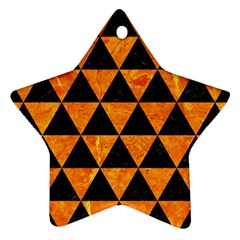Triangle3 Black Marble & Orange Marble Star Ornament (two Sides) by trendistuff