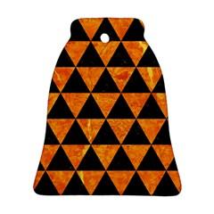 Triangle3 Black Marble & Orange Marble Ornament (bell) by trendistuff