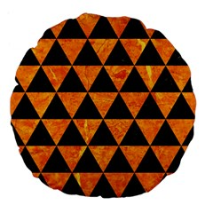 Triangle3 Black Marble & Orange Marble Large 18  Premium Flano Round Cushion  by trendistuff