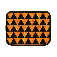 Triangle2 Black Marble & Orange Marble Netbook Case (small) by trendistuff