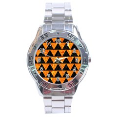 Triangle2 Black Marble & Orange Marble Stainless Steel Analogue Watch by trendistuff